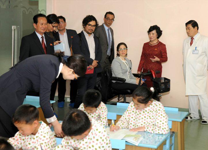 UN Special Rapporteur Catalina Devandas Aguilar on a site visit in the DPRK in May 2017. Credit: (Uriminzokkiri)