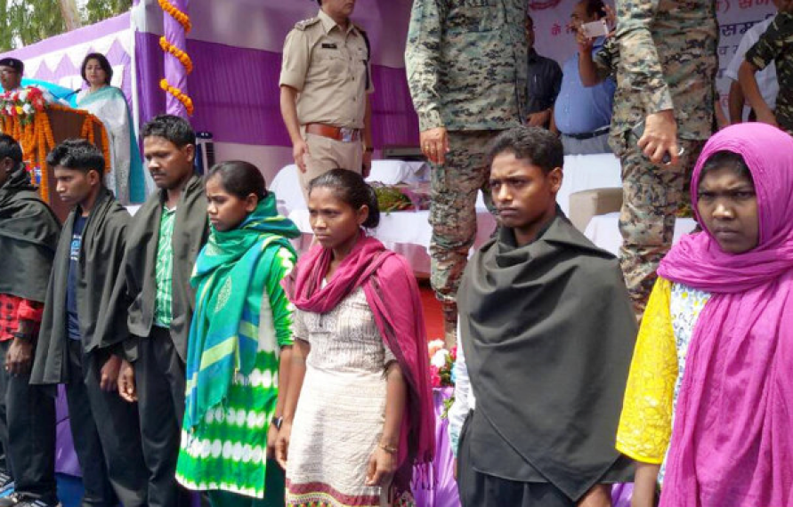 Ten Maoists surrender before police officials in Lohardaga, Jharkhand, in April 2017. The Maoist movement is suffering a setback almost everywhere including its once unshakeable bastion, Dandakaranya, top leadership of Communist Party of India (Maoist) concluded in a February 2017 meeting. Credit: IANS