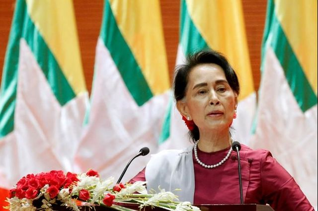 Myanmar State Counselor Aung San Suu Kyi delivers a speech to the nation over the Rakhine and Rohingya situation, in Naypyitaw, Myanmar September 19, 2017. Credit: Reuters