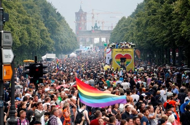 Revellers take part in the annual Gay Pride parade, also called Christopher Street Day parade (CSD), in Berlin, Germany July 22, 2017. Credit: Reuters