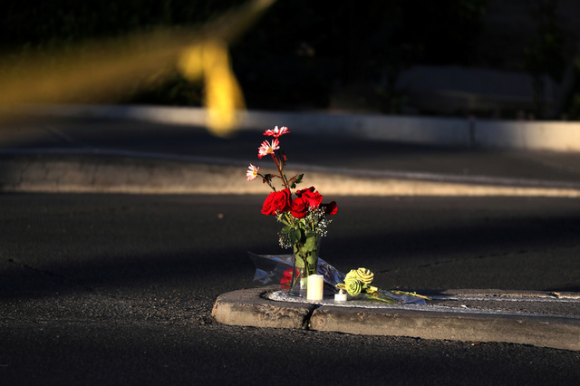 Flowers are seen next to the site of the Route 91 music festival mass shooting outside the Mandalay Bay Resort and Casino in Las Vegas, Nevada, U.S. October 3, 2017. Credit: Reuters
