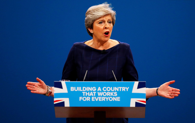 Britain's Prime Minister Theresa May addresses the Conservative Party conference in Manchester, October 4, 2017. Credit: Reuters