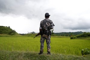 A Myanmar soldier stands near Maungdaw, north of Rakhine state, Myanmar September 27, 2017. Credit: Reuters