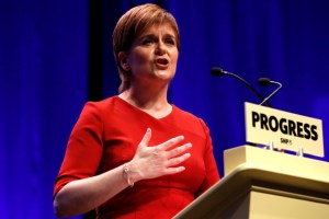 Scotland's First Minister and Scottish National Party (SNP) Leader, Nicola Sturgeon, speaks on the final day of the SNP conference in Glasgow, Scotland October 10, 2017. Credit: Reuters