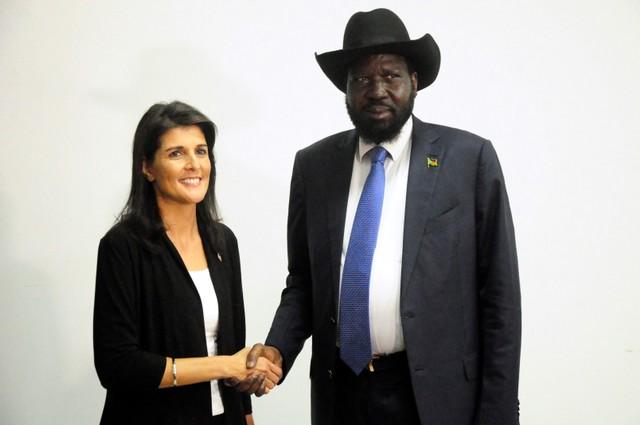 South Sudan President Salva Kiir meets U.S. Ambassador to the United Nations Nikki Haley in Juba, South Sudan October 25, 2017. Credit: Reuters