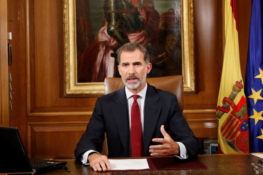 Spain's King Felipe gestures as he make an statement at Zarzuela Palace in Madrid, Spain, October 3, 2017. Credit: Reuters