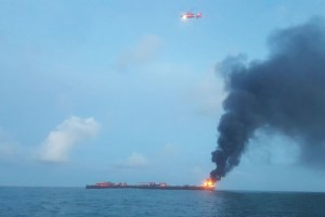 Coast Guard responds to barge on fire approximately three miles from Port Aransas jetties in Texas, U.S., October 20, 2017. Credit: Reuters