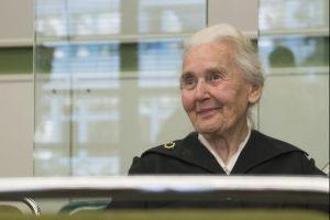 Ursula Haverbeck, accused of denying the holocaust, sits in a courtroom in Berlin, Germany, October 16, 2017. Credit: Reuters
