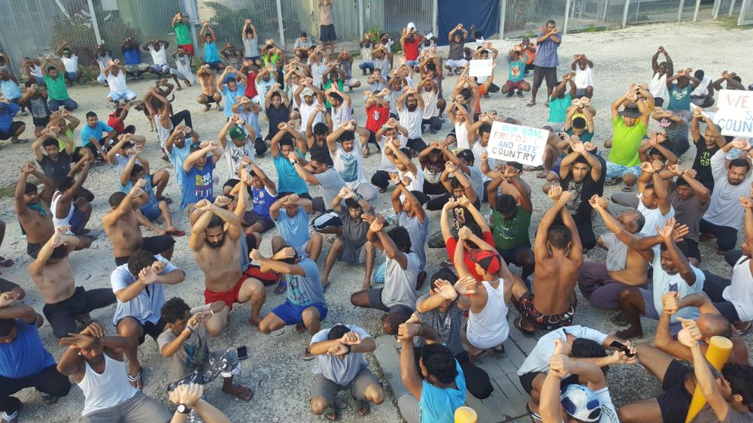Asylum seekers protest on Manus Island, Papua New Guinea, in this picture taken from social media November 6, 2017. Credit: Reuters