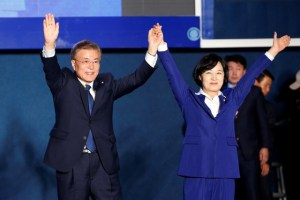 South Korea's president-elect Moon Jae-in and Choo Mi-ae, leader of the Democratic Party of Korea, thank supporters at Gwanghwamun Square in Seoul, South Korea, May 9, 2017. Credit: Reuters/Kim Kyung-Hoon - RC15323D3430