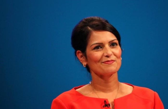 Britain's former aid secretary Priti Patel addresses the Conservative Party conference in Manchester, October 3, 2017. Credit: Reuters/Hannah McKay