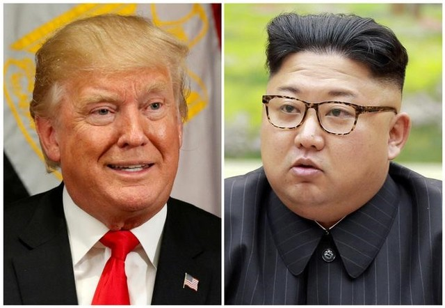 FILE PHOTOS: A combination photo shows US President Donald Trump in New York, US September 21, 2017 and North Korean leader Kim Jong Un in this undated photo released by North Korea's Korean Central News Agency (KCNA) in Pyongyang, September 4, 2017. Credit: Reuters/Kevin Lamarque, KCNA/Handout via Reuters/File Photos