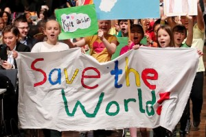 Children are seen during climate march prior to the opening session of the COP23 UN Climate Change Conference 2017, hosted by Fiji but held in Bonn, in World Conference Center Bonn, Germany, November 6, 2017. Credit: Reuters/Wolfgang Rattay