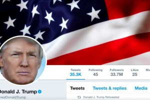 The masthead of US President Donald Trump's @realDonaldTrump Twitter account is seen on July 11, 2017. Credit: @realDonaldTrump/Handout/File Photo via Reuters