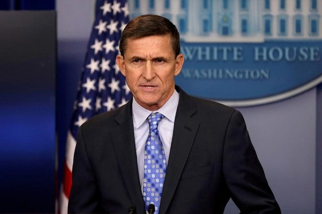 FILE PHOTO: White House National Security Advisor Michael Flynn speaks at the White House in Washington, U.S. on February 1, 2017. Credit: Reuters/Carlos Barria/File Photo