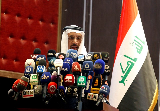 Saudi Oil Minister Khalid al-Falih speaks during the opening of Baghdad International Exhibition, Baghdad, Iraq October 21, 2017. Credit: Reuters/Khalid al-Mousily/Files