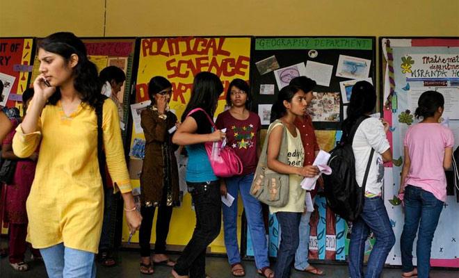 Students at a Delhi University college. Credit: PTI/Files