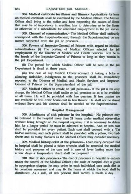 Screenshot of the Rajasthan Jail Manual for hospital management