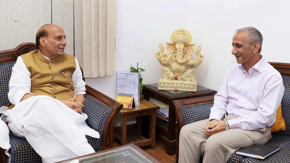 Union home minister Rajnath Singh with Kashmir interloctur Dineshwar Sharma. Credit: PTI