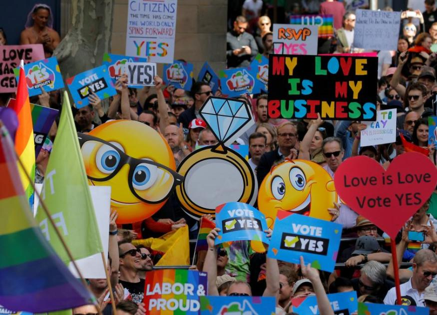 People attend a rally for marriage equality of same-sex couples in Sydney, Australia, September 10, 2017. Reuters/Jason Reed