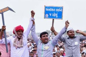 Patel community members during their a rally for reservation in Ahmedabad. Credit: PTI