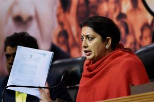 Minister of information and broadcasting Smriti Irani. Credit: PTI