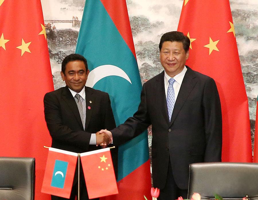 Maldivian President Abdulla Yameen and Chinese President Xi Jinping. Credit: Reuters