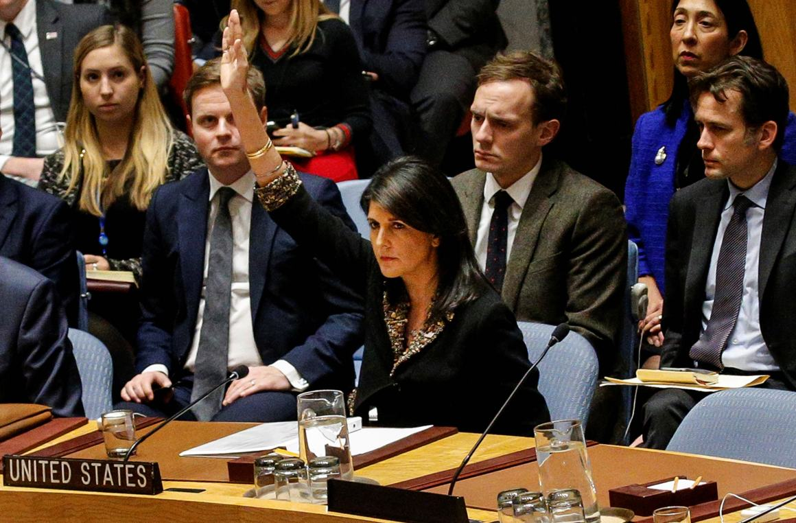 US ambassador to the United Nations Nikki Haley vetos an Egyptian-drafted resolution regarding recent decisions concerning the status of Jerusalem, during the United Nations Security Council meeting on the situation in the Middle East, including Palestine, at U.N. Headquarters in New York City, New York, US, December 18, 2017. Credit: Reuters/Brendan McDermid/Files