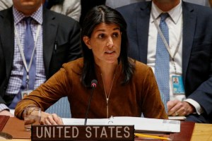 US Ambassador to the United Nations Nikki Haley speaks for a bid to renew an international inquiry into chemical weapons attacks in Syria, during a meeting of the U.N. Security Council at the United Nations headquarters in New York, U.S., November 17, 2017. Credit: Reuters/Brendan McDermid