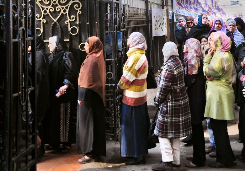 Women line up to vote in Egypt's 2011 parliamentary elections. Credit: UN Women via Global Voices