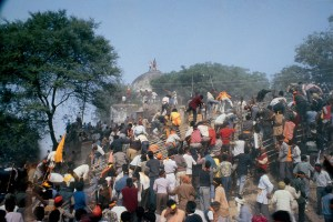 Kar sevaks on top of Babri Masjid minutes before it was demolished by them on the December 6, 1992 in Ayodhya. Credit: T. Narayan