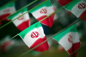 Iran's national flags are seen on a square in Tehran February 10, 2012. Credit: Reuters/Morteza Nikoubazl