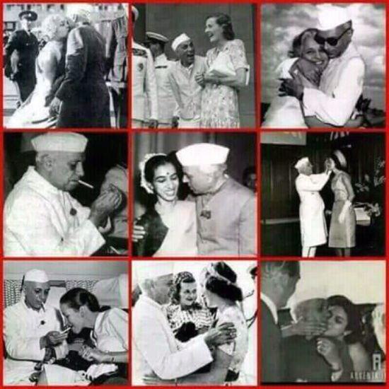 Amit Malviya, Bharatiya Janata Party's IT cell head, tweets pictures of Jawaharlal Nehru embracing and kissing his sister Vijayalakshmi Pandit and niece Nayantara Sehgal as proof of his sexual amorality. Credit: Twitter