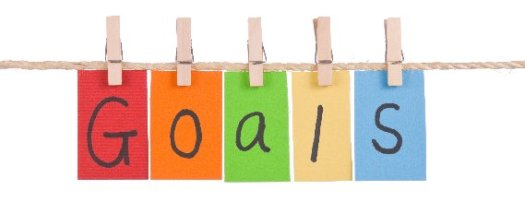 Goals spelled out using multi-colored paper and clothespins on a twine clothesline.
