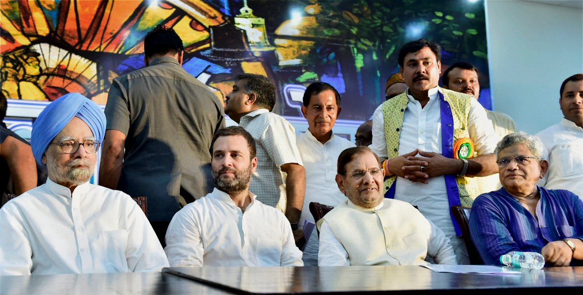 New Delhi: Congress Vice-President Rahul Gandhi, former PM Manmohan Singh, former JD(U) president Sharad Yadav and CPI(M) General Secretary Sitaram Yechuri attend a day-long convention 'Sajha Virasat Bachao Sammelan' in New Delhi on Thursday. PTI Photo by Kamal Kishore (PTI8_17_2017_000025B) *** Local Caption ***
