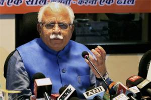 Chandigarh: Haryana Chief Minister Manohar Lal Khattar addressing a press conference at Haryana Niwas in Chandigarh on Friday. PTI  Photo(PTI10_23_2015_000048B)