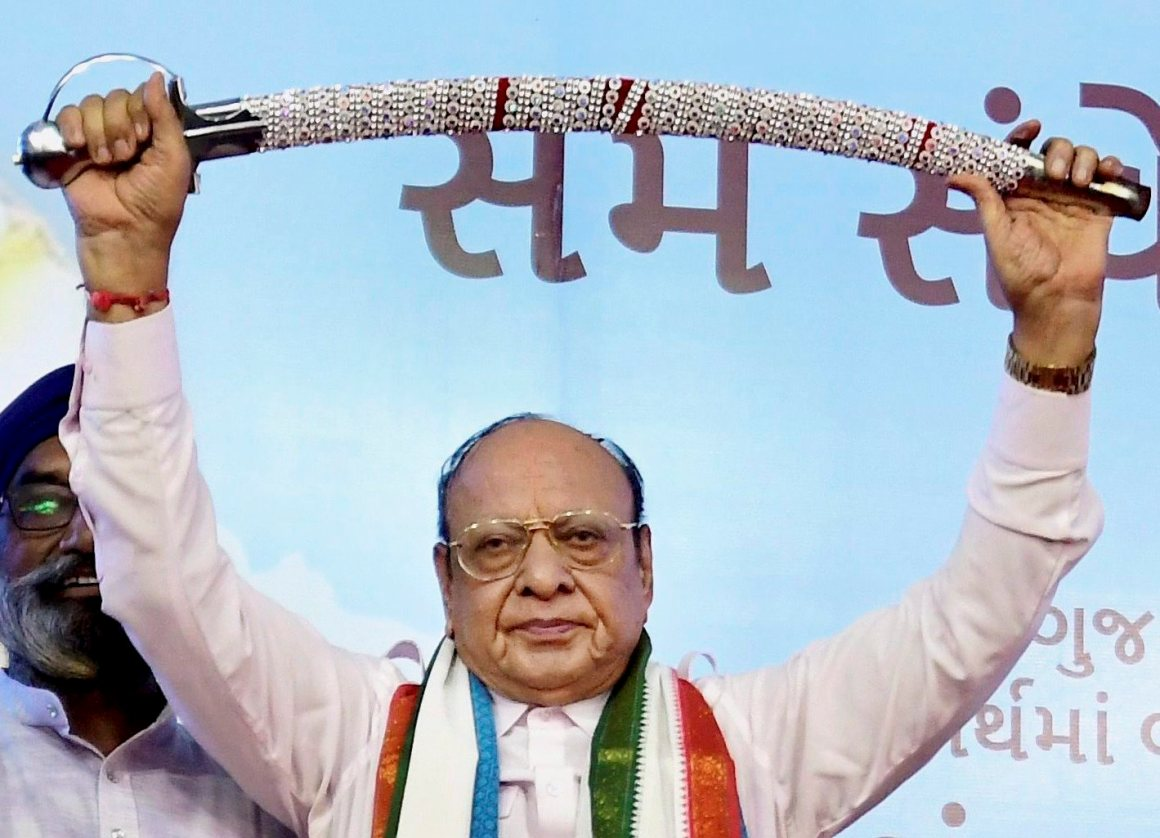 Gandhinagar: Leader of opposition in Gujarat assembly Shankarsinh Vaghela at a public meeting of his supporters on his 77th birthday, where he announced he was expelled from the Congress, in Gandhinagar on Friday. PTI Photo(PTI7_21_2017_000118A)(PTI7_21_2017_000184B)