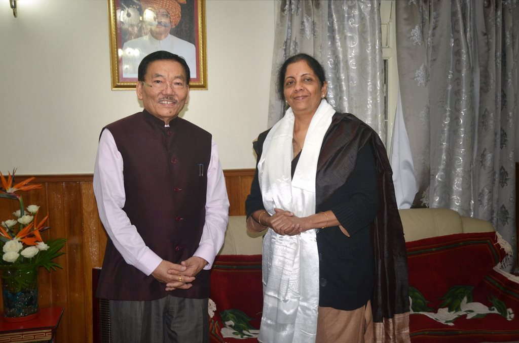 Gangktok: Union Defence Minister Nirmala Sitharaman with Chief Minister of Sikkim, Pawan Kumar Chamling during their meeting in Gangktok on Saturday. PTI Photo(PTI10 7 2017 000111B)