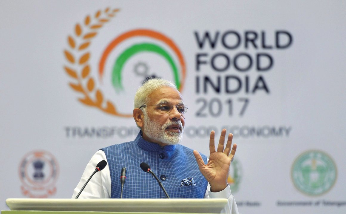 New Delhi: Prime Minister Narendra Modi addressing at the World Food India 2017 inaugural session in New Delhi on Friday. PTI Photo by Vijay Verma (PTI11_3_2017_000048B)