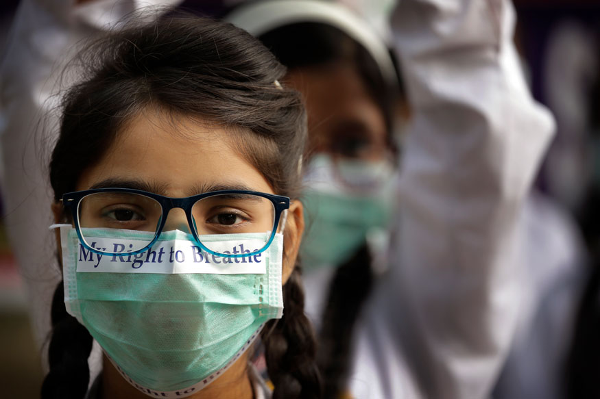 Children March against alarming-levels-of-pollution-in Delhi PTI