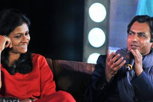 Kolkata: Bollywood actress and director Nandita Das with actor Nawazuddin Siddiqui having a conversation about their forthcoming biopic 'Manto' during the Tata Steel Kolkata Literary Meet-2018 at Victoria Memorial in Kolkata on Wednesday evening.PTI Photo (PTI1_24_2018_000286B)
