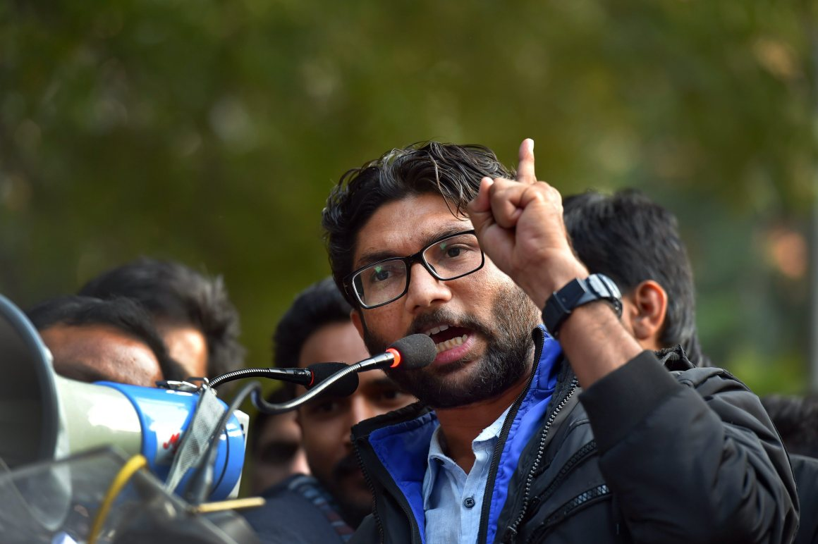 New Delhi: Dalit leader and Gujarat MLA Jignesh Mevani addresses the 'Youth Hunkar' rally in New Delhi on Tuesday. PTI Photo by Kamal Kishore(PTI1_9_2018_000120B)