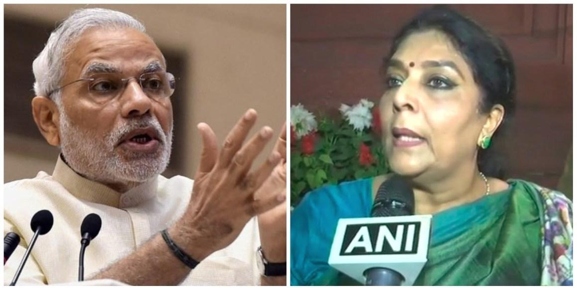 प्रधानमंत्री नरेंद्र मोदी और कांग्रेस नेता रेणुका चौधरी. (फोटो: पीटीआई/एएनआई)
