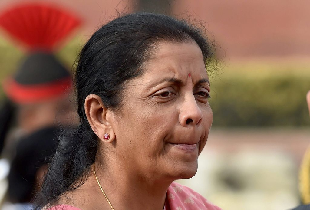 New Delhi: Union Minister for Defence Nirmala Sitharaman waits to receive her Tajikistan counterpart Lieutenant General Sherali Mirzo at South Block in New Delhi on Thursday. PTI Photo by Manvender Vashist (PTI2_8_2018_000113B)