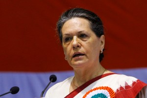 Chief of India's ruling Congress Party Sonia Gandhi speaks during the All India Congress Committee (AICC) meeting in New Delhi in this November 2, 2010 file photo. Gandhi, the head of India's ruling Congress party, returned to New Delhi on September 8, 2011 after receiving surgery in the United States for an undisclosed illness.   REUTERS/B Mathur/Files  (INDIA - Tags: POLITICS HEADSHOT)