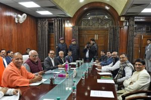 Lucknow: Uttar Pradesh Chief Minister Yogi Adityanath and Assembly Speaker HN Dixit along with others during an all-party meeting ahead of Budget Session of state assembly in Lucknow on Wednesday. PTI Photo by Nand Kumar (PTI2_7_2018_000166B)