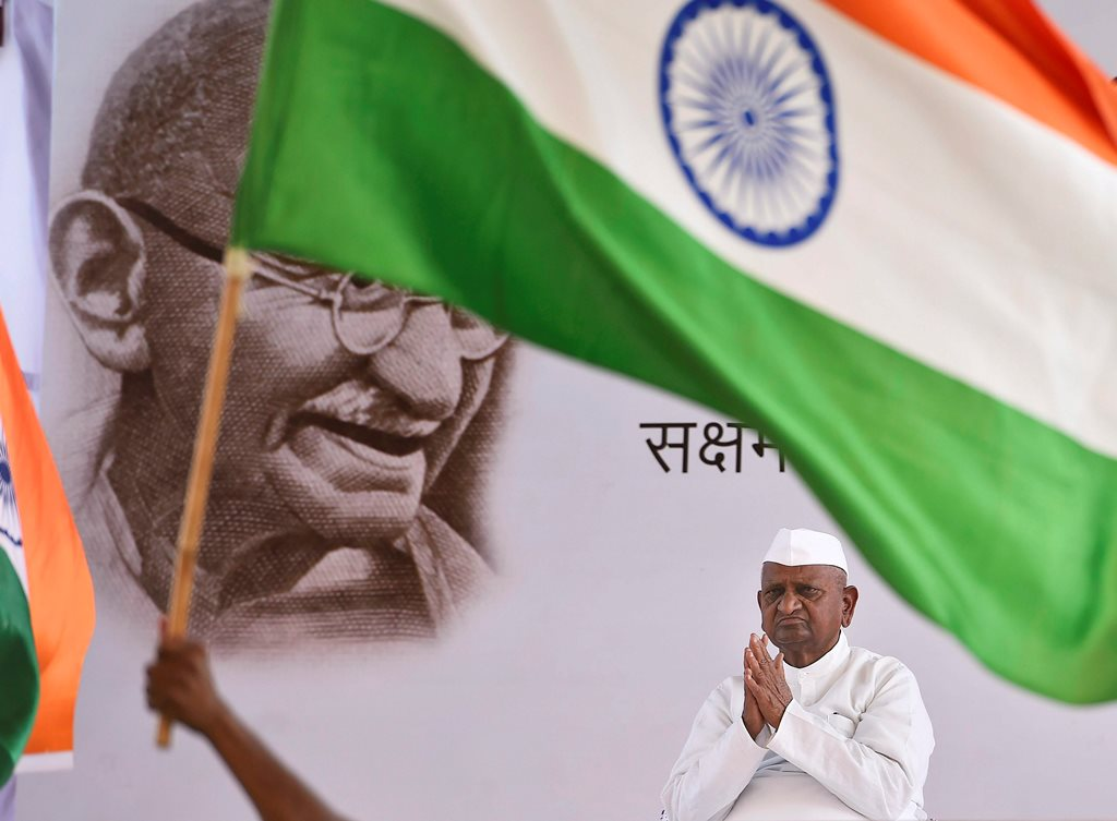 New Delhi: Social activist Anna Hazare during his indefinite hunger strike in New Delhi on Saturday. PTI Photo by Ravi Choudhary (PTI3_24_2018_000060B)