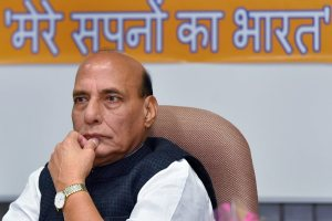 New Delhi: Home Minister Rajnath Singh at a book release, comprising the interviews of former prime minister Atal Bihari Vajpayee published in Rashtriya Swayamsevak Sangh's Hindi publication the 'Panchjanya', in New Delhi on Thursday. PTI Photo by Kamal Kishore (PTI2_8_2018_000187B)