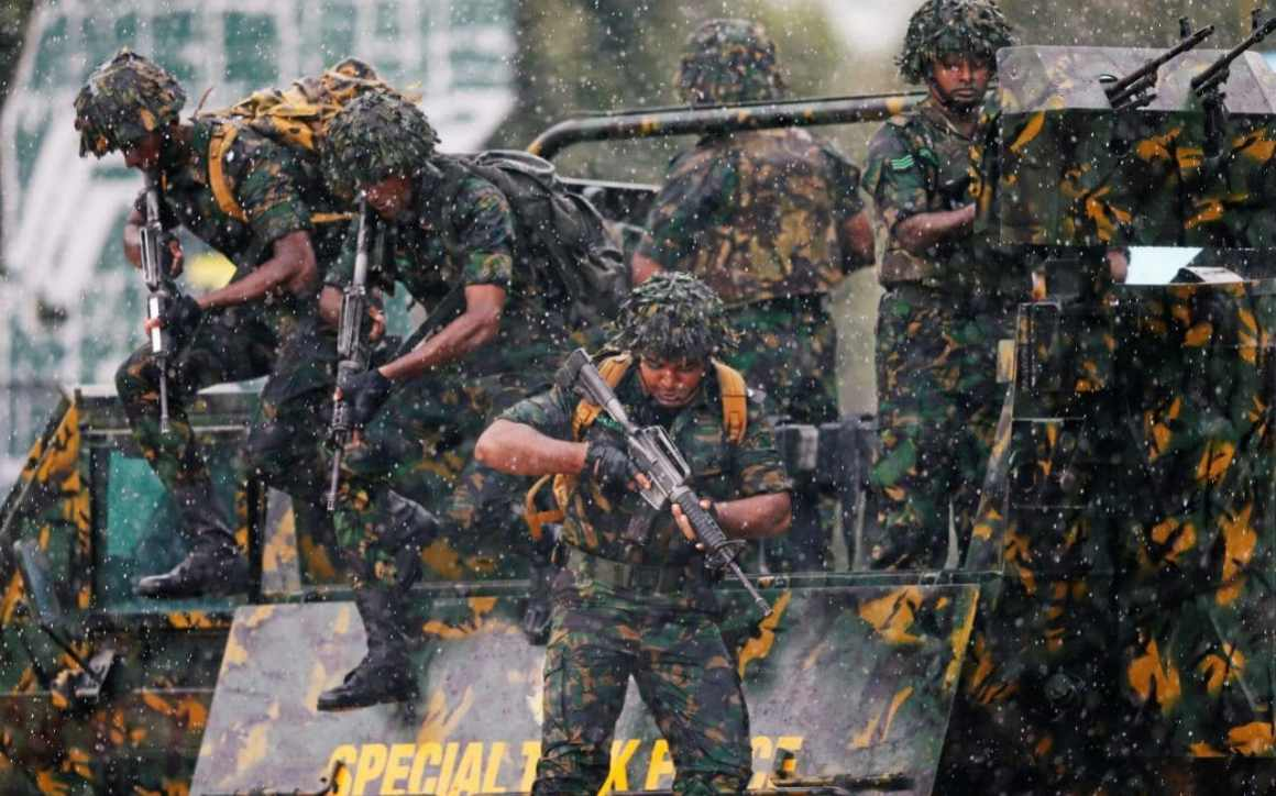 The Sri Lanka government has deployed heavily-armed police commandos in Kandy after rioters defied an overnight curfew and went on the rampage. Photo: Reuters