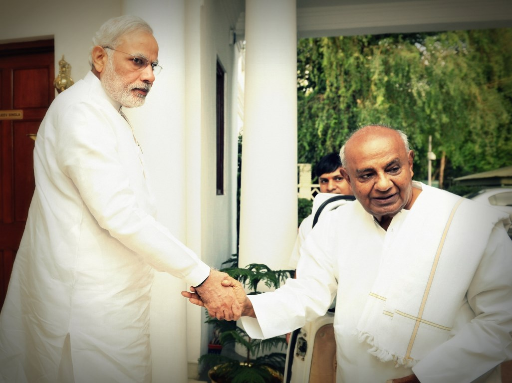 The former Prime Minister, Shri H.D. Deve Gowda calling on the Prime Minister, Shri Narendra Modi, in New Delhi on June 03, 2015.